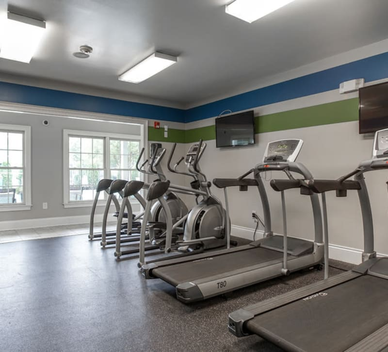 Treadmill section of fitness center at Peachtree Landing in Fairburn, Georgia