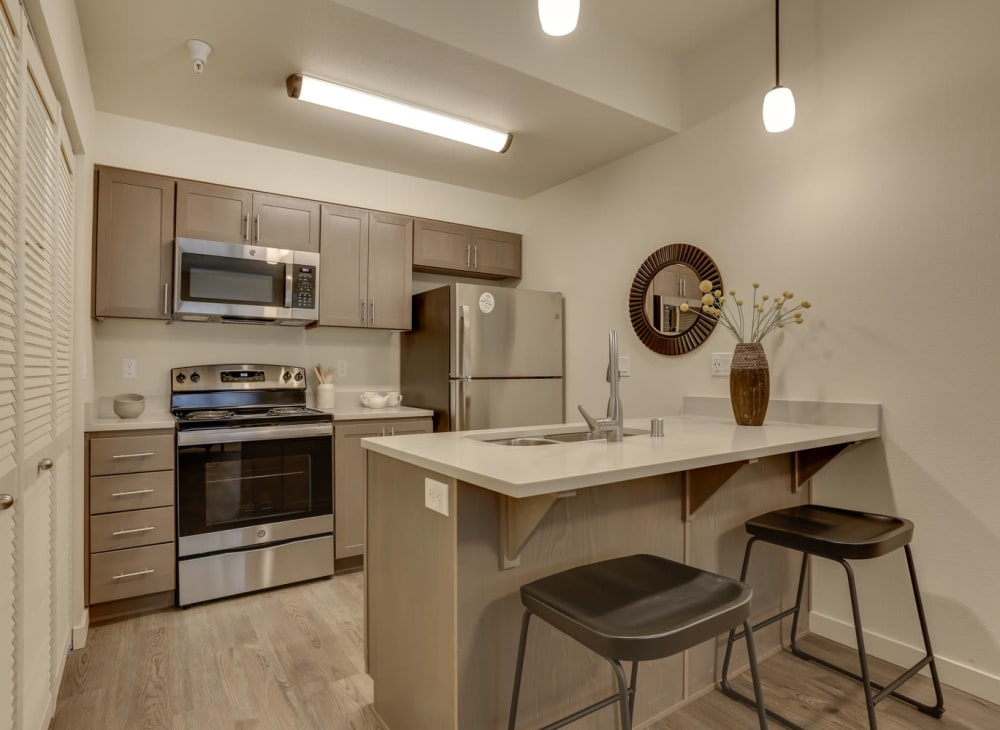 Sleek modern décor in an apartment at Haven Hills in Vancouver, Washington