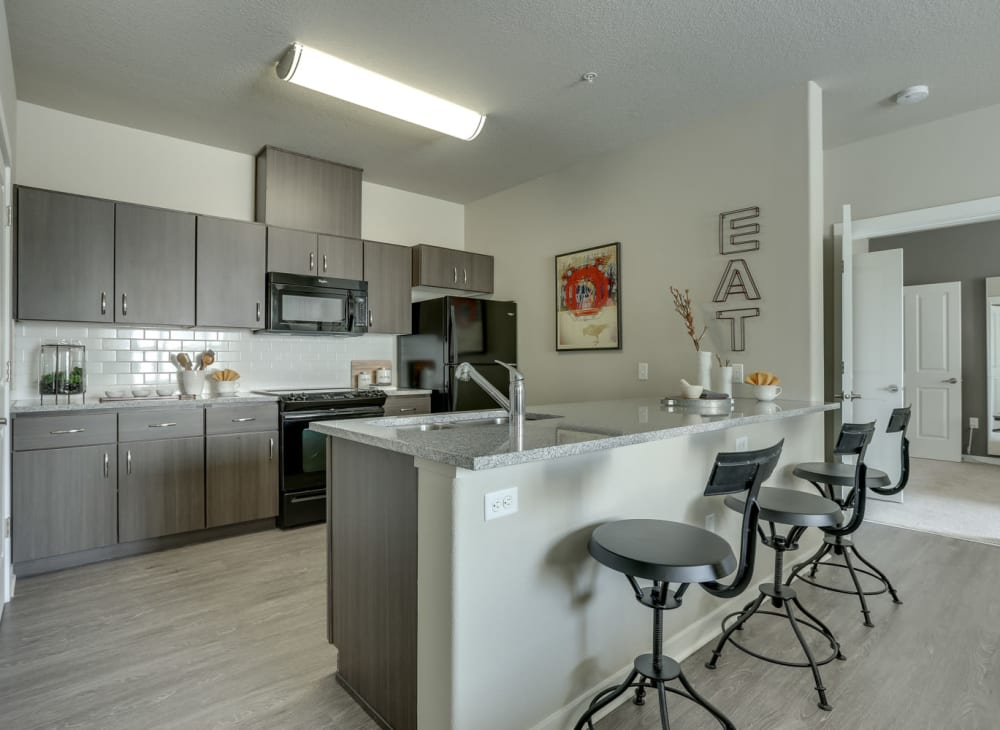 Sleek modern décor in an apartment at Terrene at the Grove in Wilsonville, Oregon