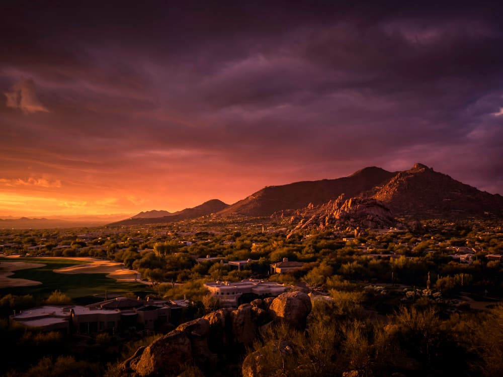 Amazing sunset view of the area near Capital Place in Phoenix, Arizona
