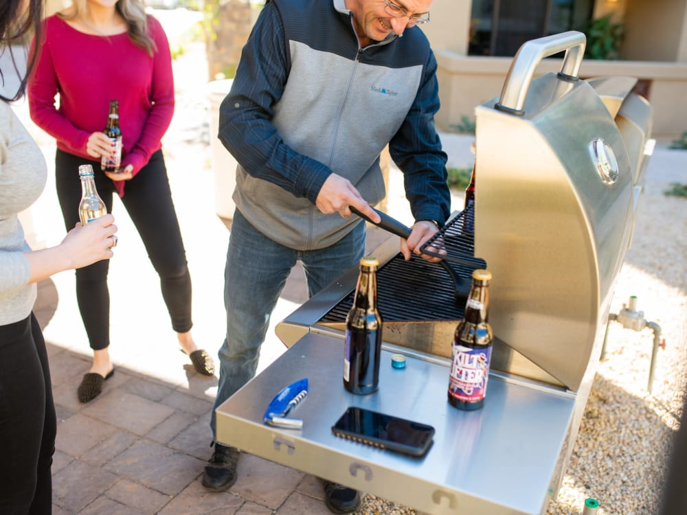 Residents getting ready to fire up the gas grills at San Prado in Glendale, Arizona