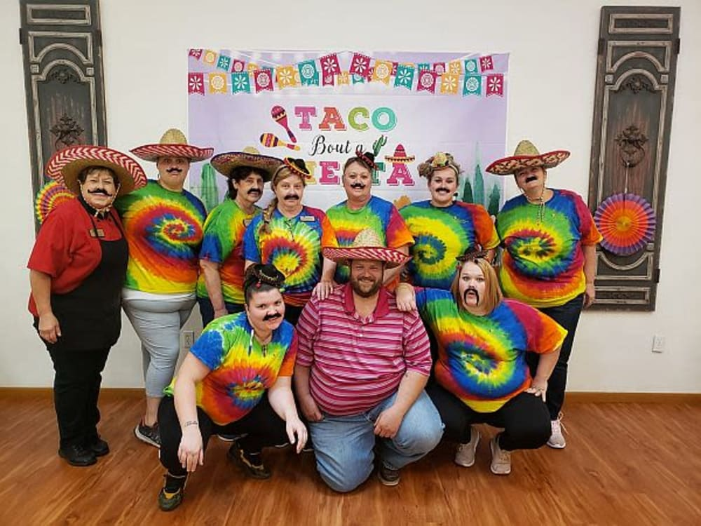 Staff members at fiesta night at Garden Place Waterloo in Waterloo, Illinois.