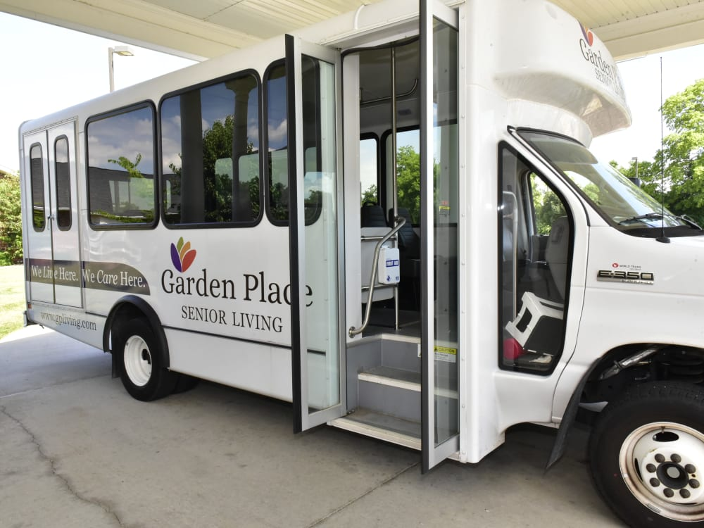 Activities bus at Garden Place Waterloo in Waterloo, Illinois.