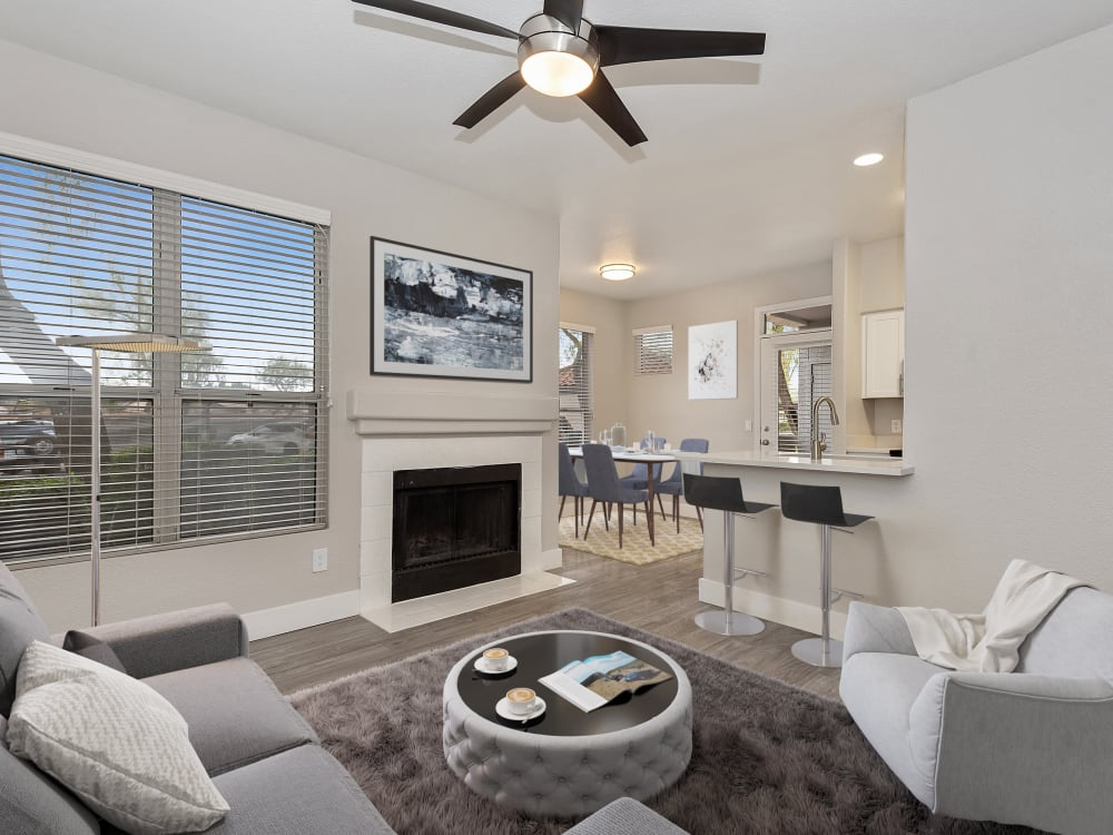 Furnished model living room at The Retreat Apartments in Phoenix, AZ