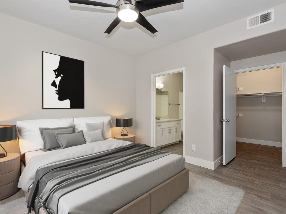 Model bedroom at The Retreat Apartments in Phoenix, AZ