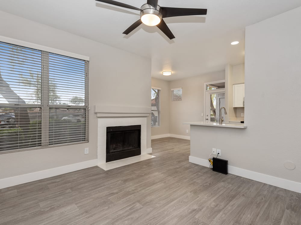 The Retreat Apartments in Phoenix, AZ offers a living room with fire place