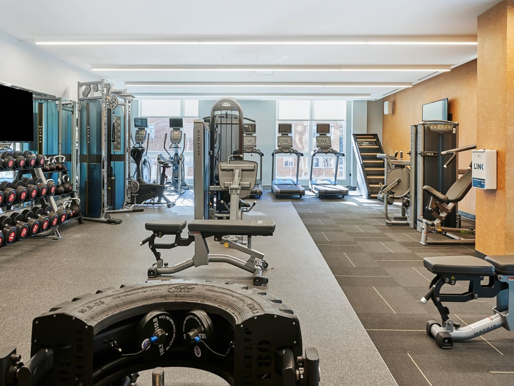 Fitness center for resident at The Link Evanston in Evanston, Illinois
