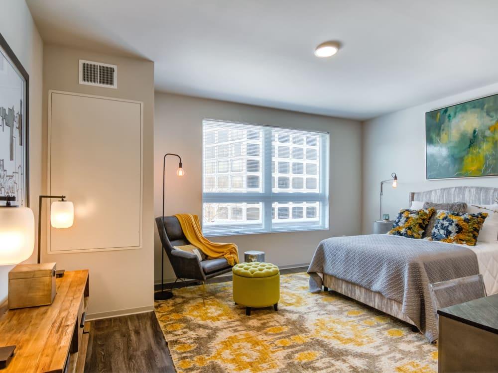 Cozy bedroom at The Link Minneapolis in Minneapolis, Minnesota