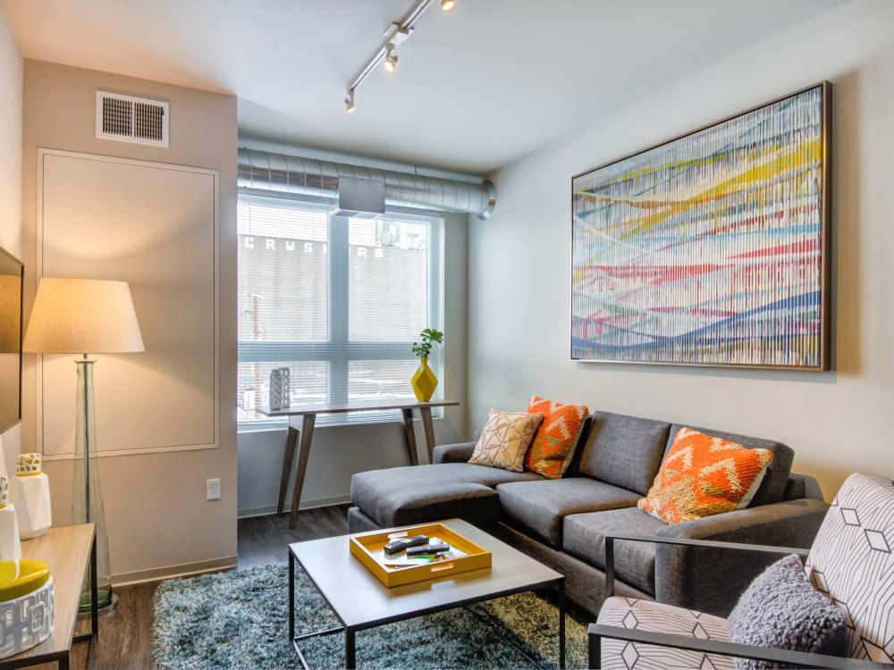 Spacious living room at The Link Minneapolis in Minneapolis, Minnesota