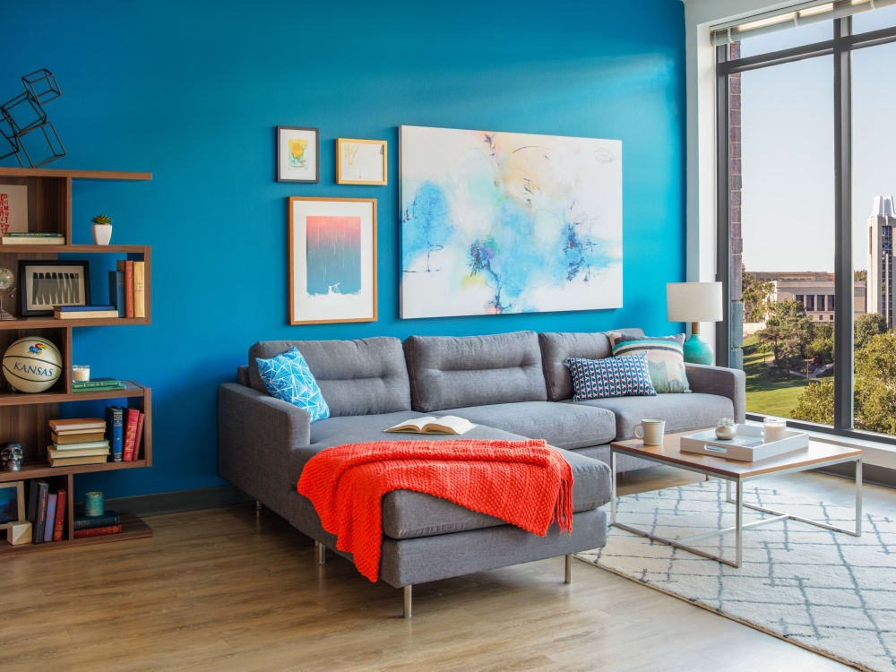 Bright, spacious living room at HERE Kansas in Lawrence, Kansas