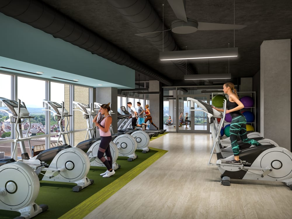 Fitness center at HERE State College in State College, Pennsylvania