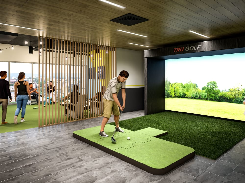Golf simulator at HERE State College in State College, Pennsylvania