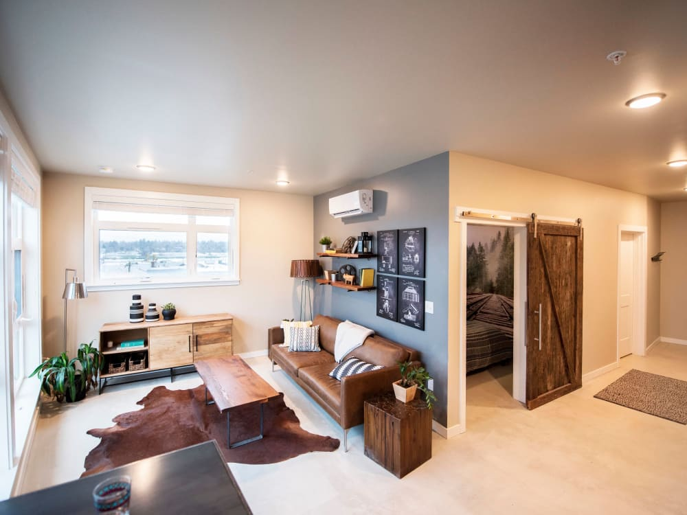 Beautifully furnished model home's living area at Brooklyn Yard in Portland, Oregon