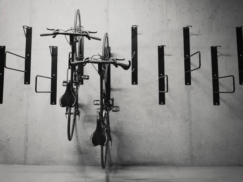Secure bicycle storage at Brooklyn Yard in Portland, Oregon