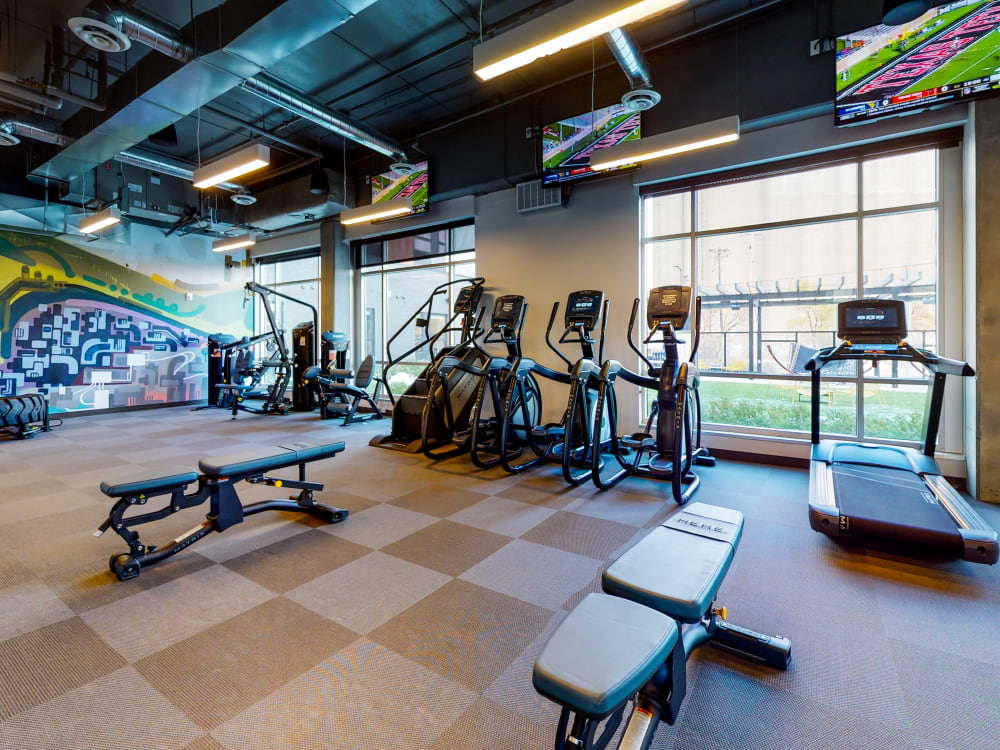 Spacious, fully equipped fitness center at HERE Minneapolis in Minneapolis, Minnesota