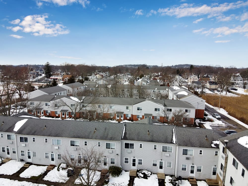 Aerial exterior of Encore 99 in East Haven, Connecticut