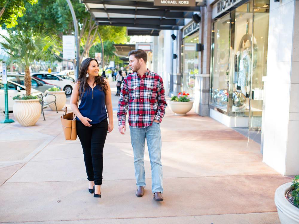 Residents walking around downtown near Cactus Forty-2 in Phoenix, Arizona