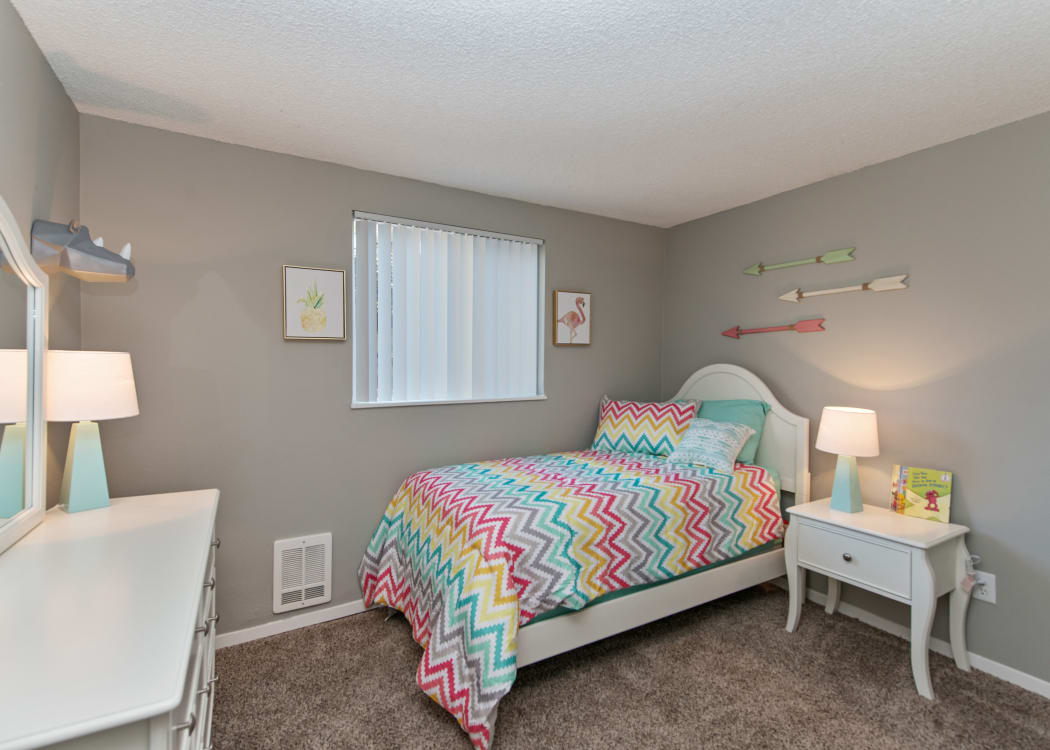 Guest bedroom in model home at The Row