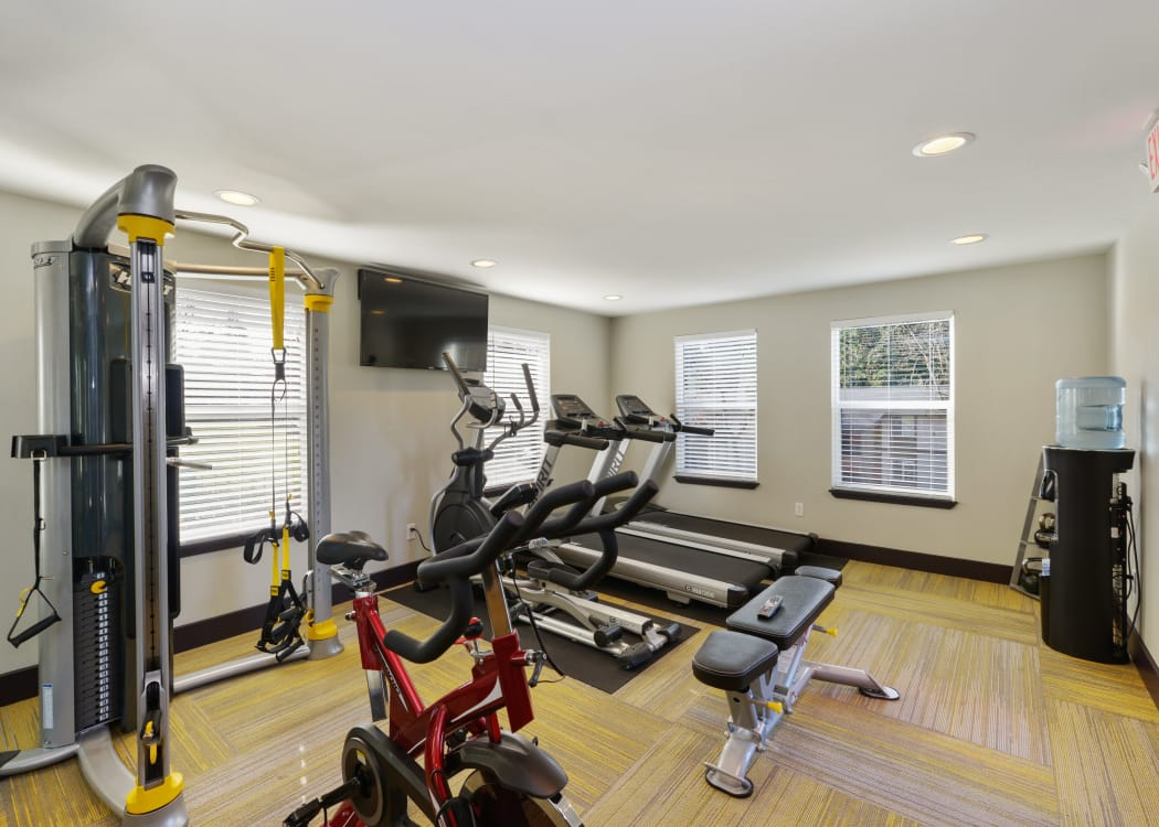 Well-equipped fitness center at The Row in Kent