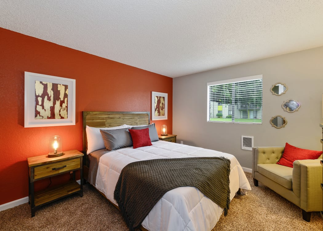 Large, nicely decorated master bedroom in model home at The Union in Federal Way