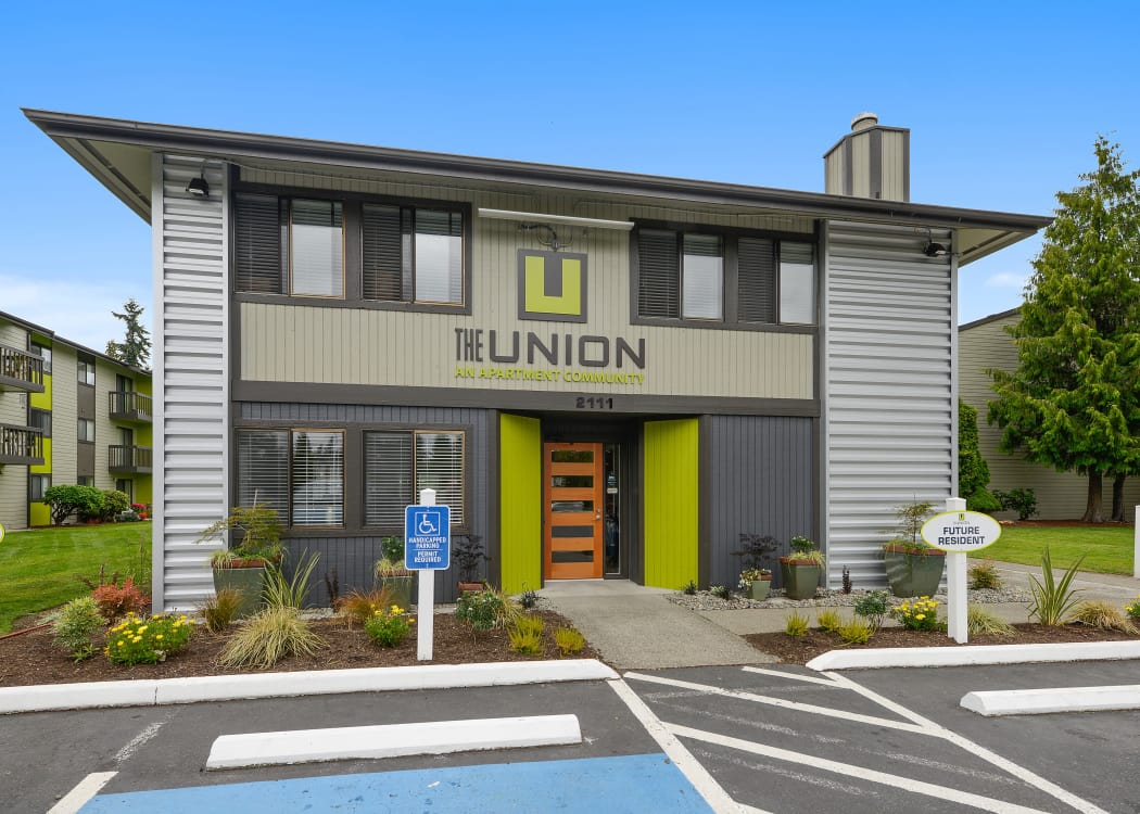 Exterior view of the leasing office at The Union in Federal Way