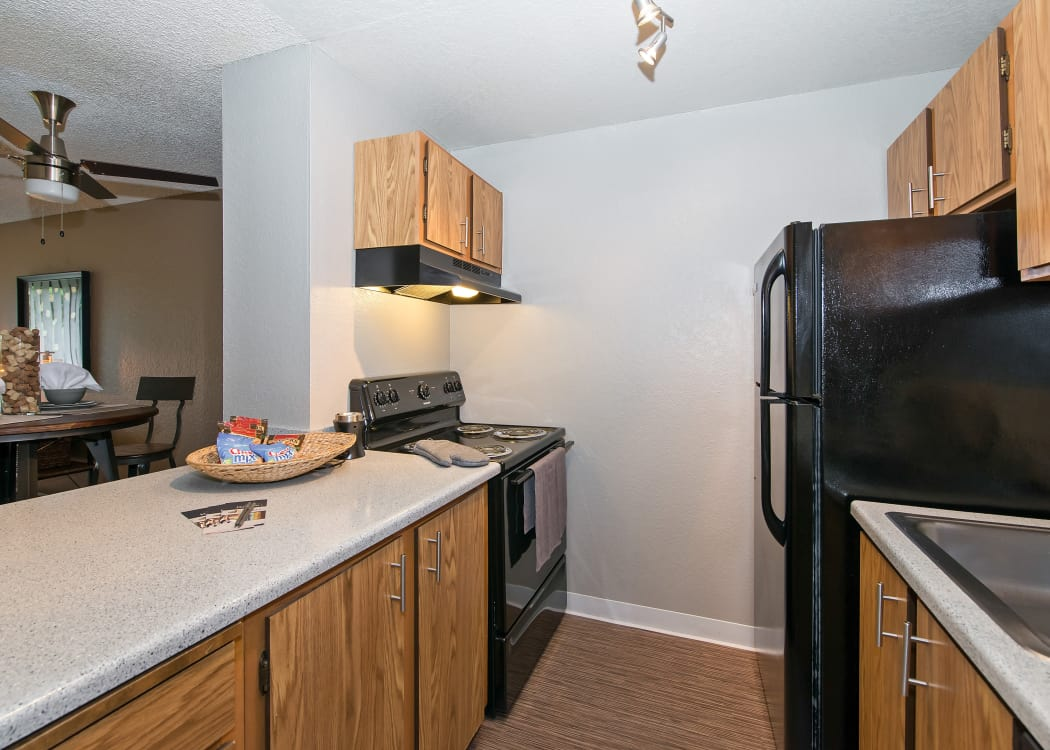 Modern and well-equipped kitchen in model home at The Union in Federal Way