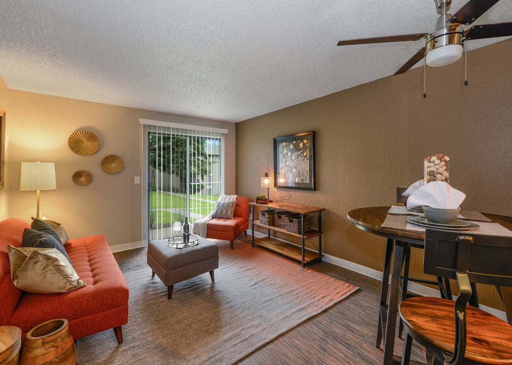 Spacious living room in model home at The Union in Federal Way