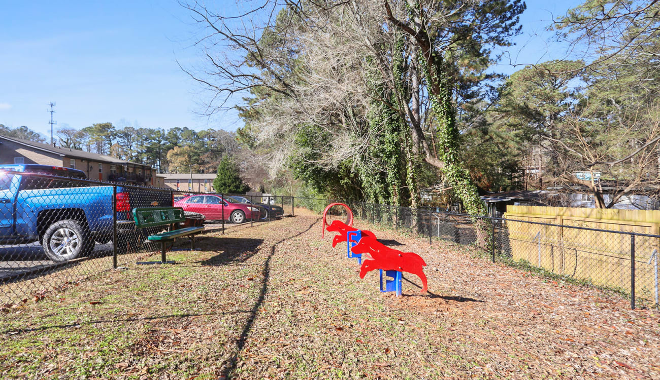 Onsite dog park with agility training course at Alturas Embry Hills in Doraville, Georgia