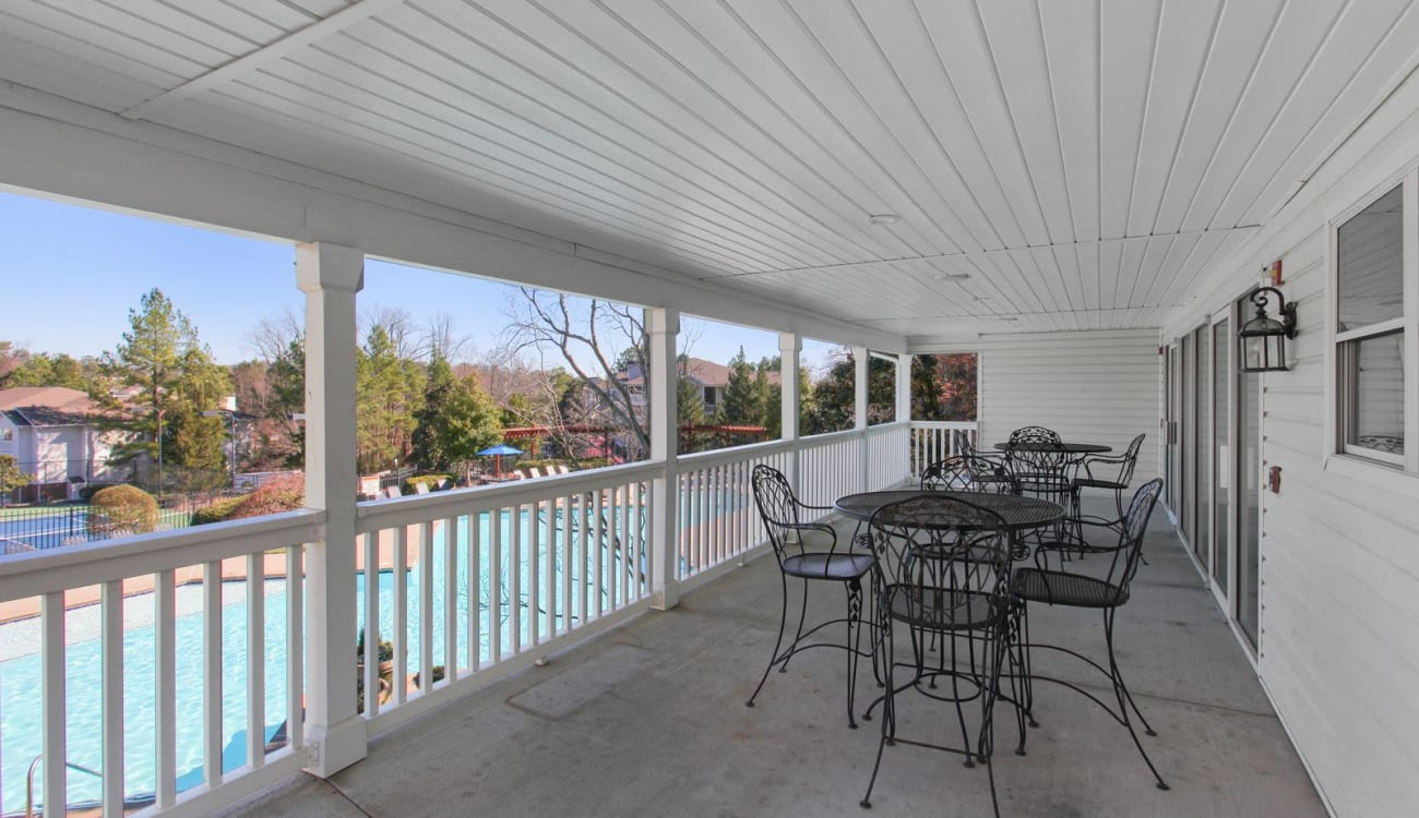 Poolside patio at Wellington Point in Atlanta, Georgia