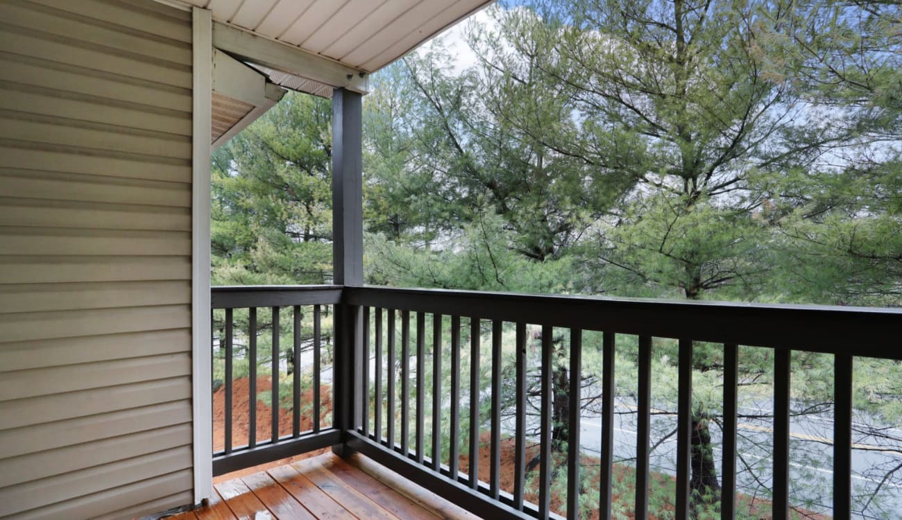 Private balcony at Peppertree Apartments in Winchester, Virginia