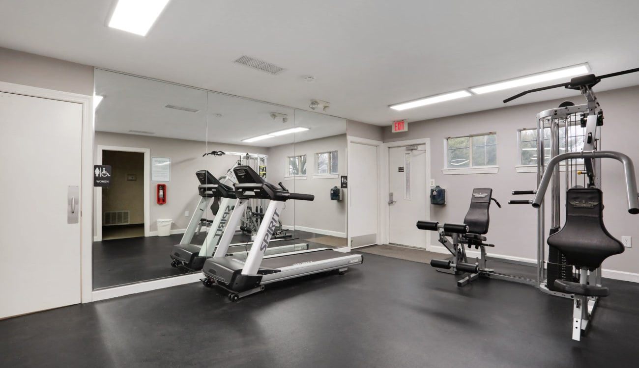 Fully equipped fitness center at Peppertree Apartments in Winchester, Virginia