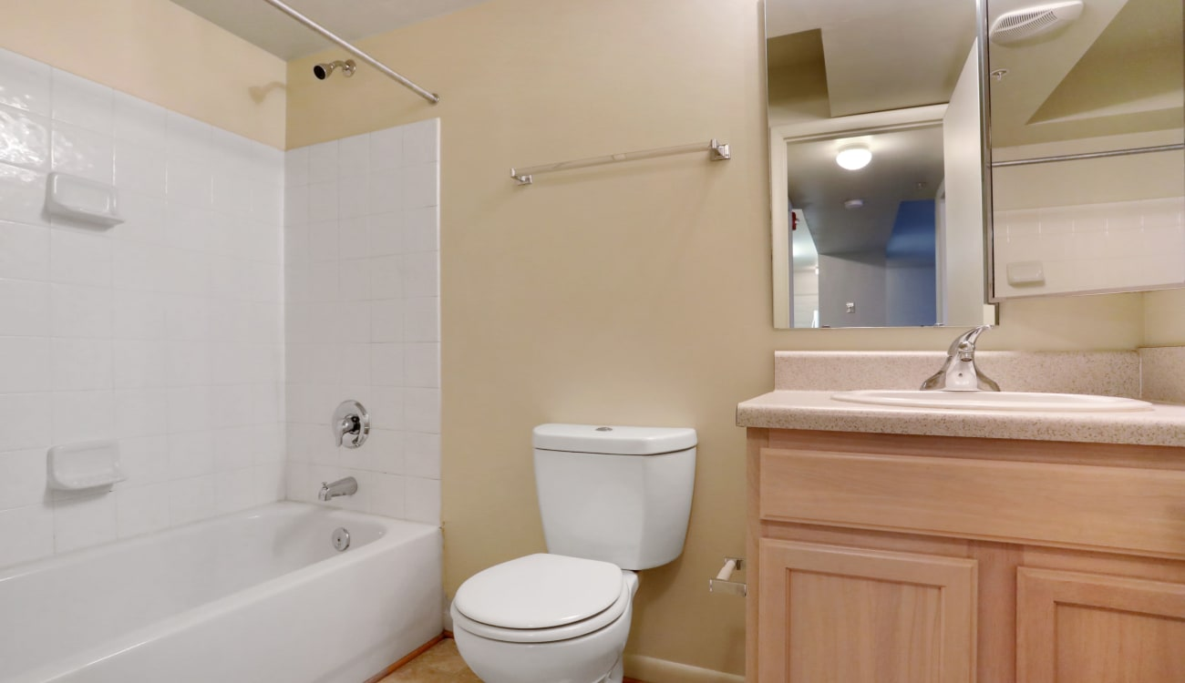 Clean bathroom at Peppertree Apartments in Winchester, Virginia