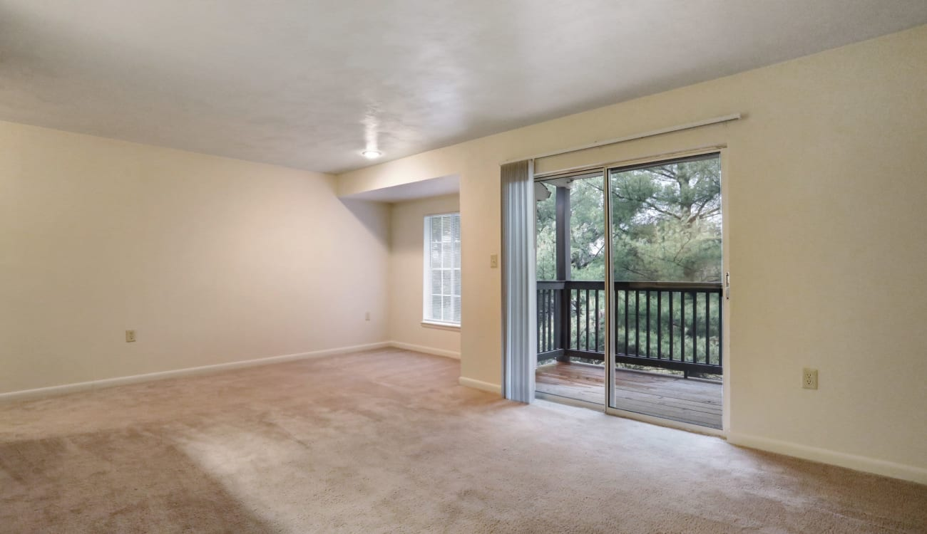 Living room with patio access at Peppertree Apartments in Winchester, Virginia