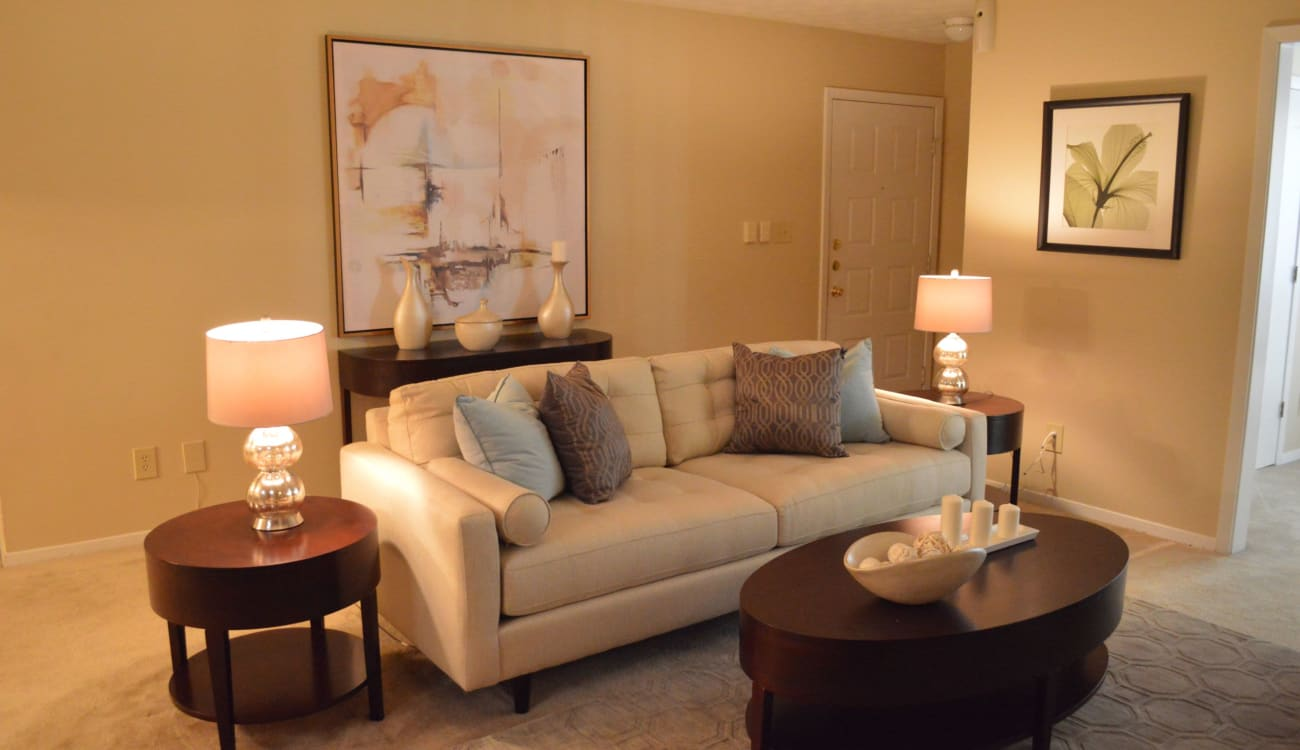 Well decorated living room at Reserve at Twin Oaks in Clarkston, Georgia