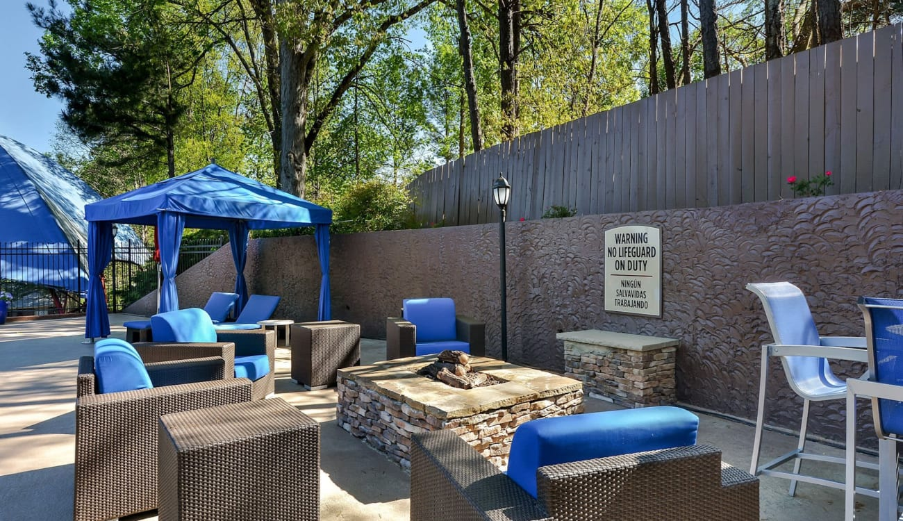 Outdoor lounge at Forest Cove in Doraville, Georgia