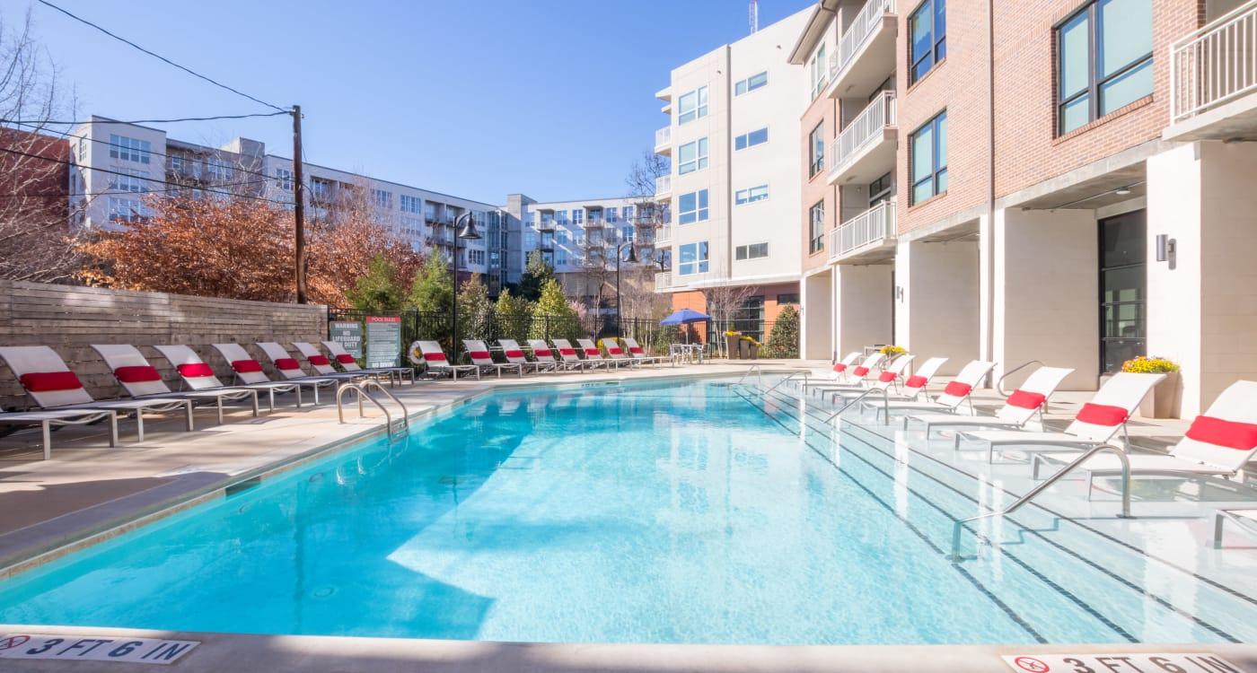 Swimming pool on a sunny day at Inman Quarter in Atlanta, Georgia