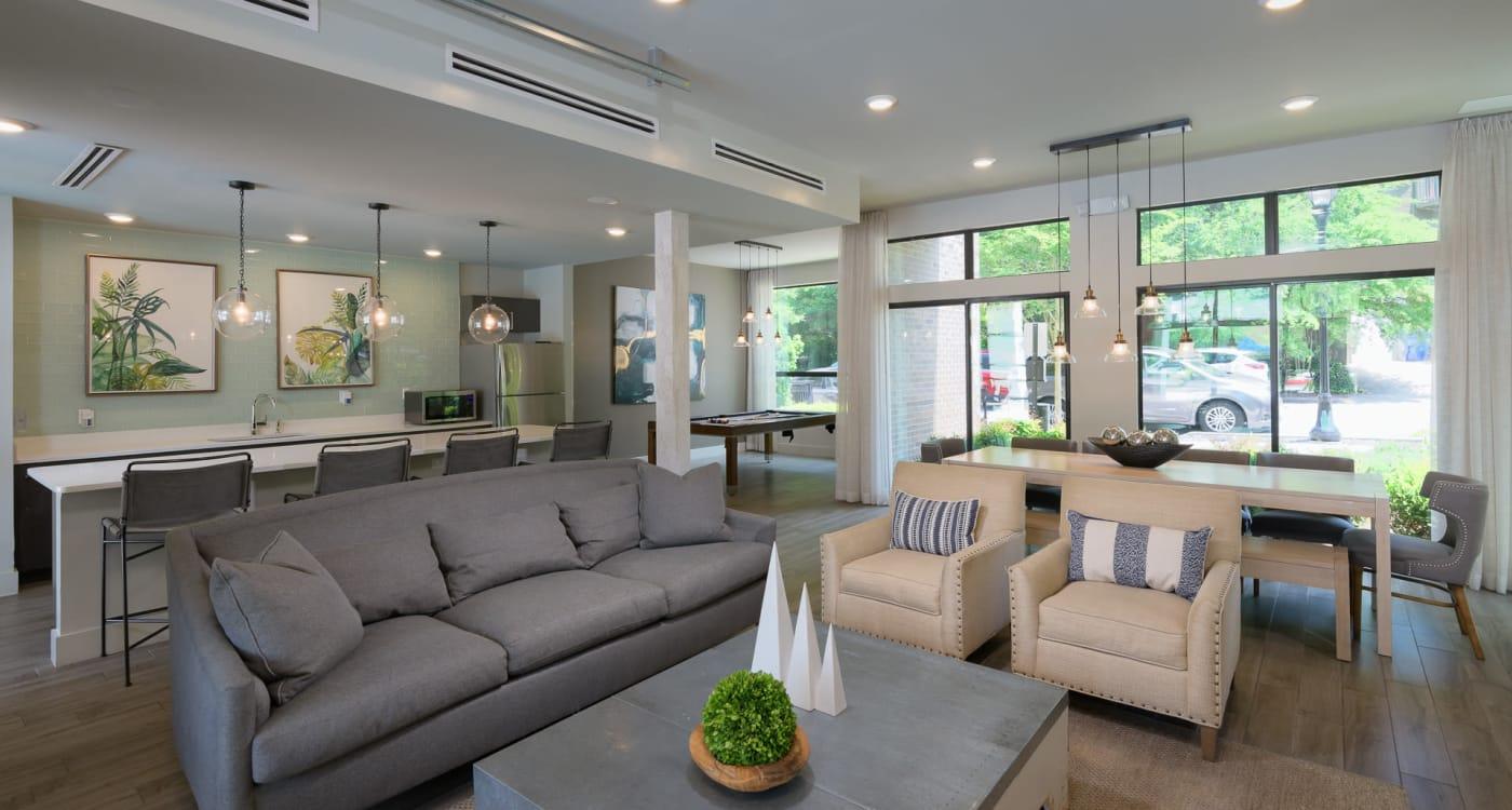 Living room at Inman Quarter in Atlanta, Georgia