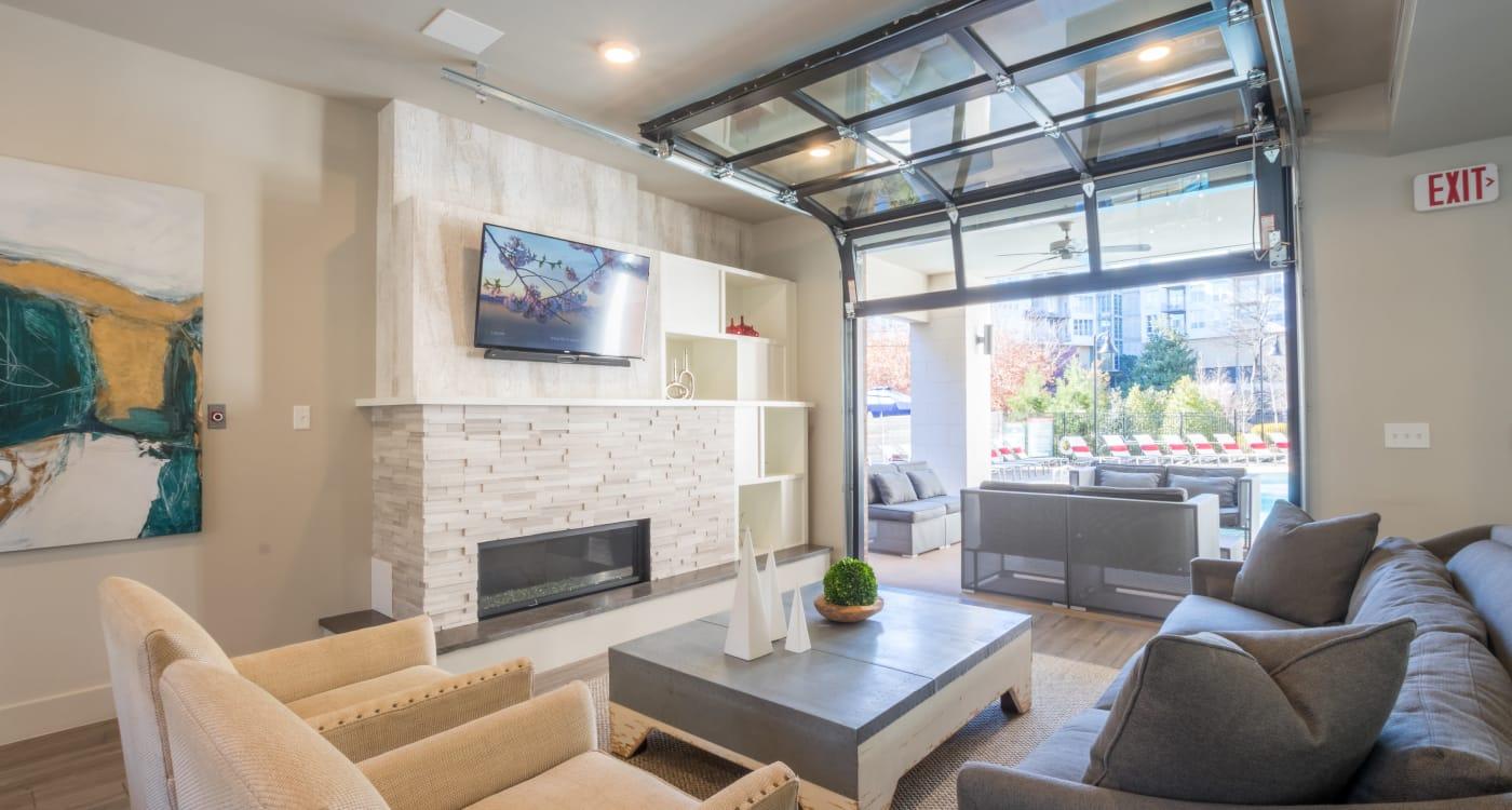 Model living room at Inman Quarter in Atlanta, Georgia
