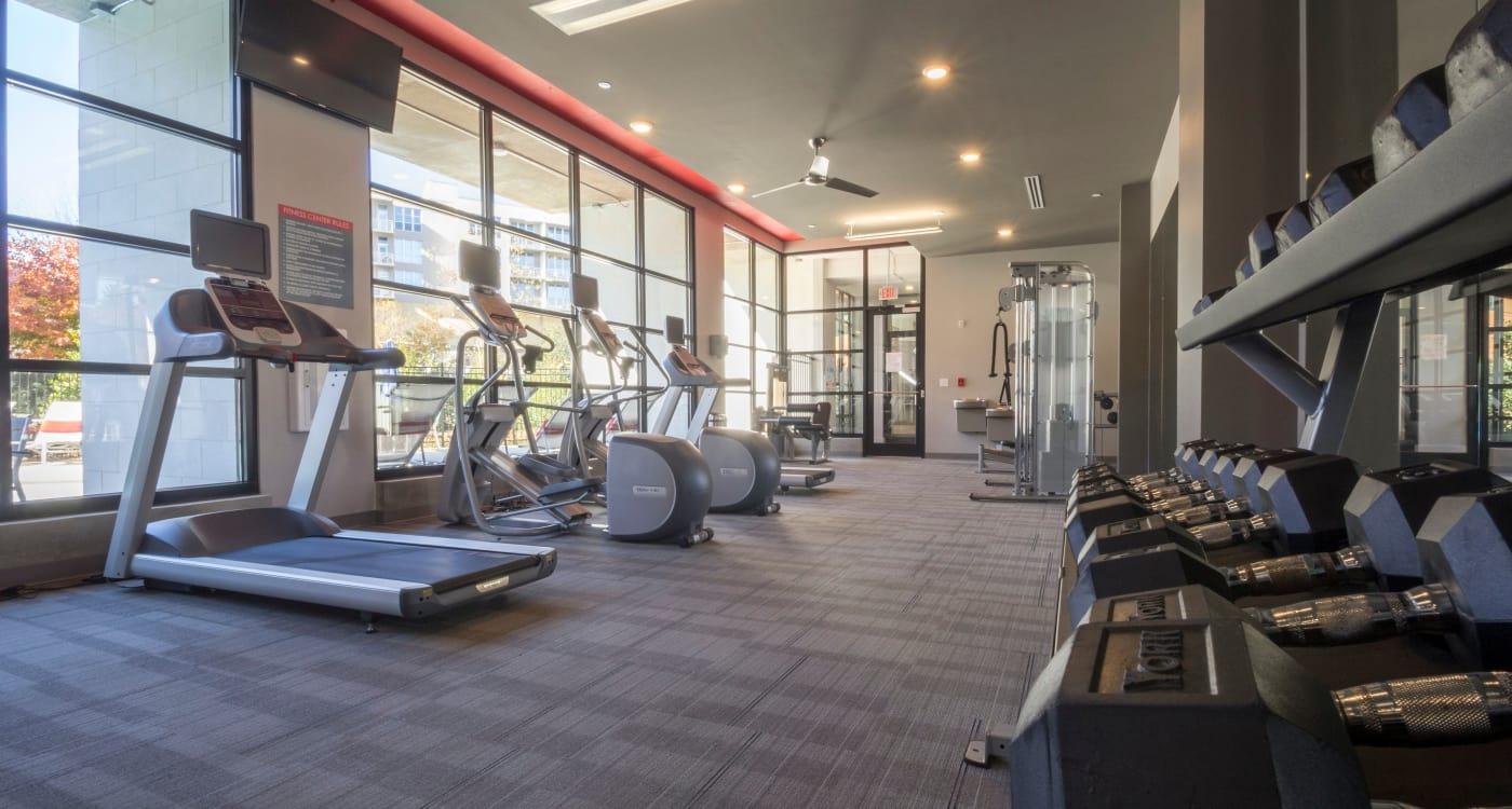 Exercise equipment at Inman Quarter in Atlanta, Georgia