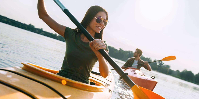 Residents canoeing near Uptown Ann Arbor in Ann Arbor, Michigan