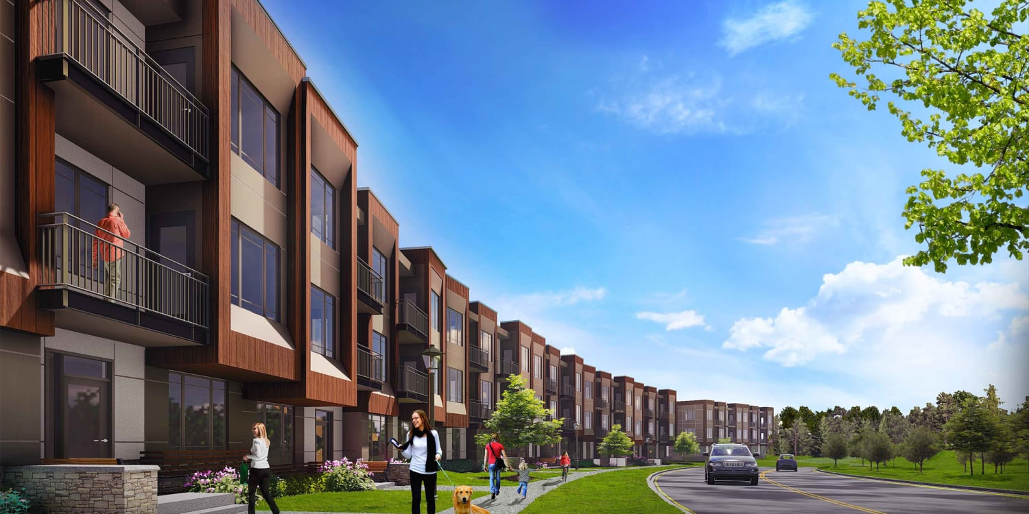 Rendering of the exterior of our community at Uptown Ann Arbor in Ann Arbor, Michigan