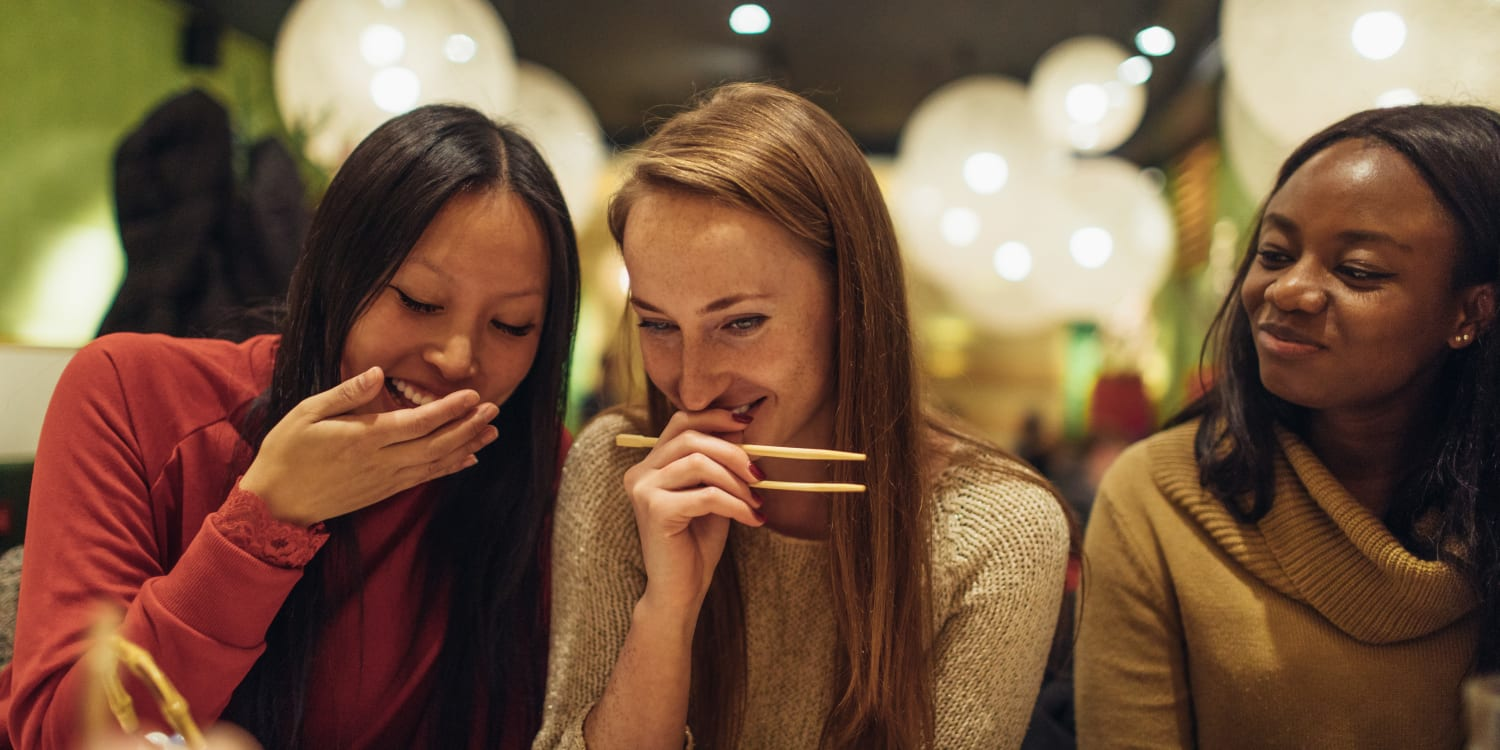 Residents out for sushi at a local restaurant near Uptown Ann Arbor in Ann Arbor, Michigan