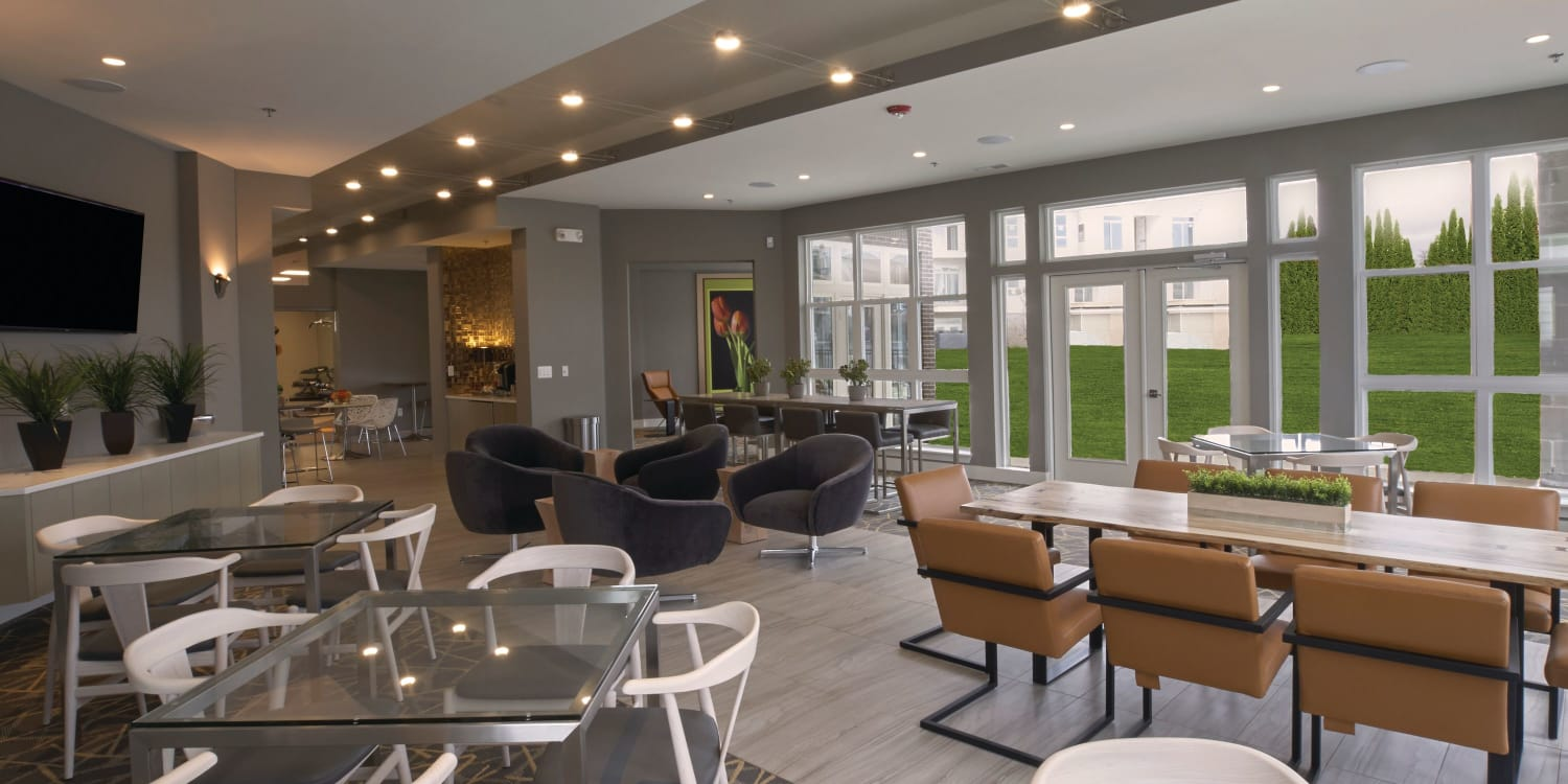 Spacious, open clubhouse at Town Court in West Bloomfield, Michigan