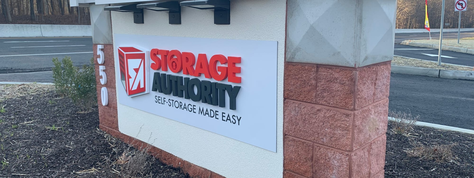 Sign at Storage Authority Monmouth Rd in Millstone Township, NJ