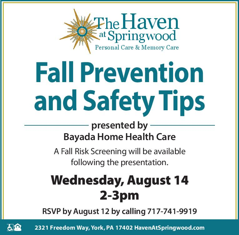 Fall Prevention and Safety Tips at The Haven at Springwood in York, Pennsylvania