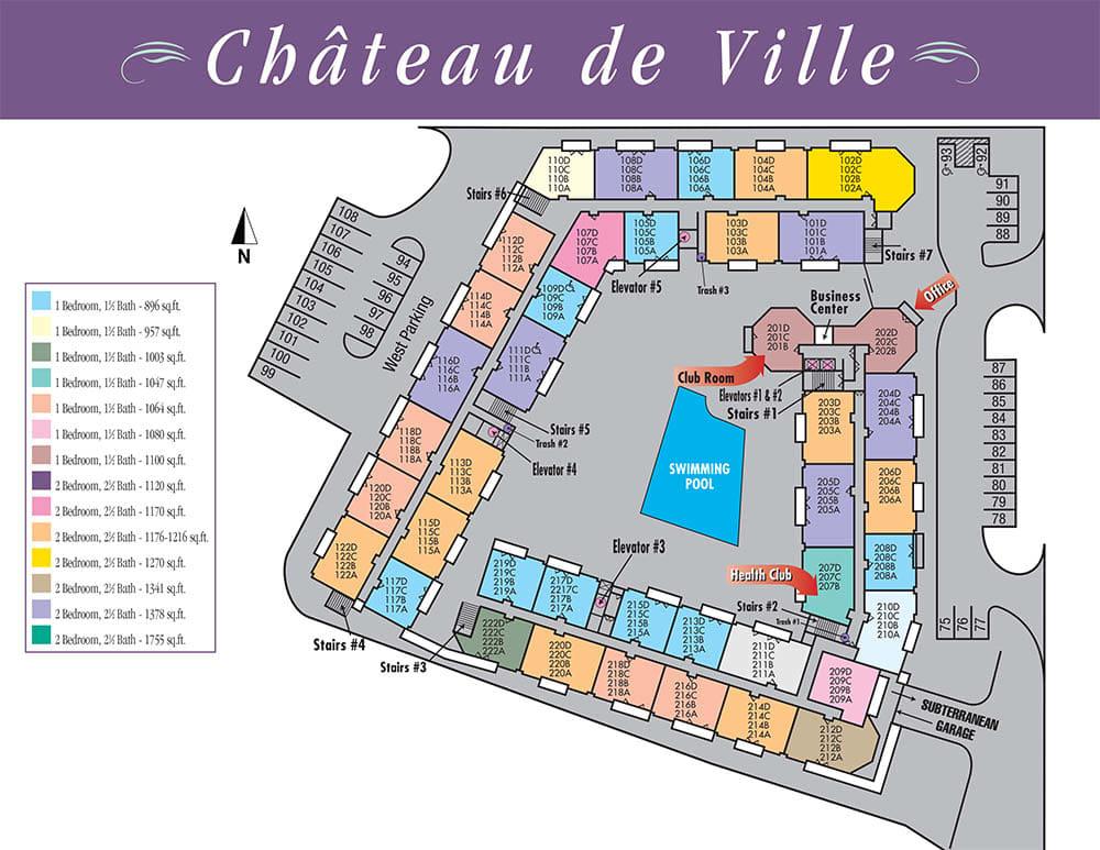 Site map of Chateau De Ville in Farmers Branch, TX