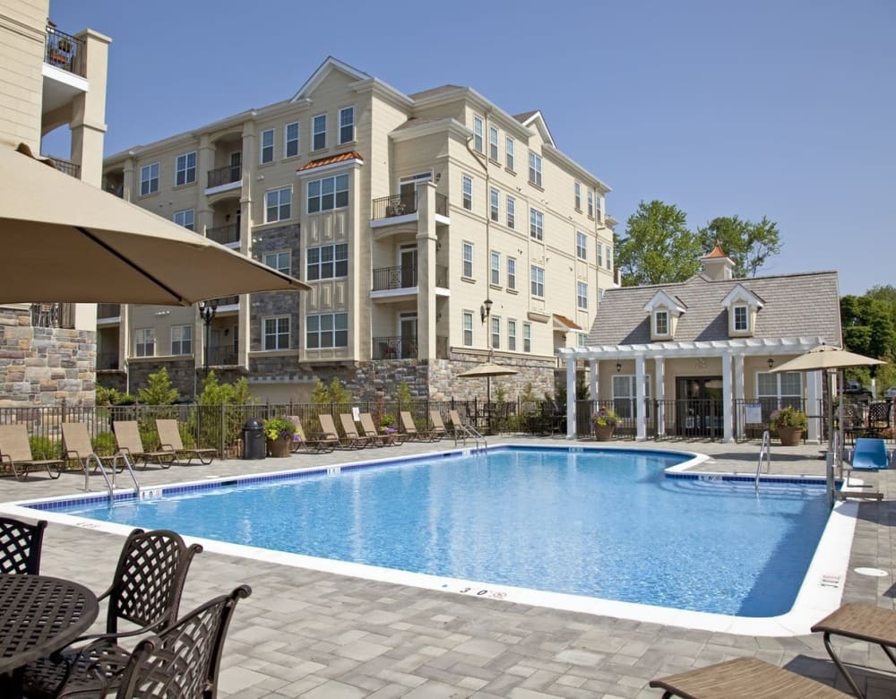 Sparkling swimming pool at Presidential Place Apartments in Lebanon, New Jersey
