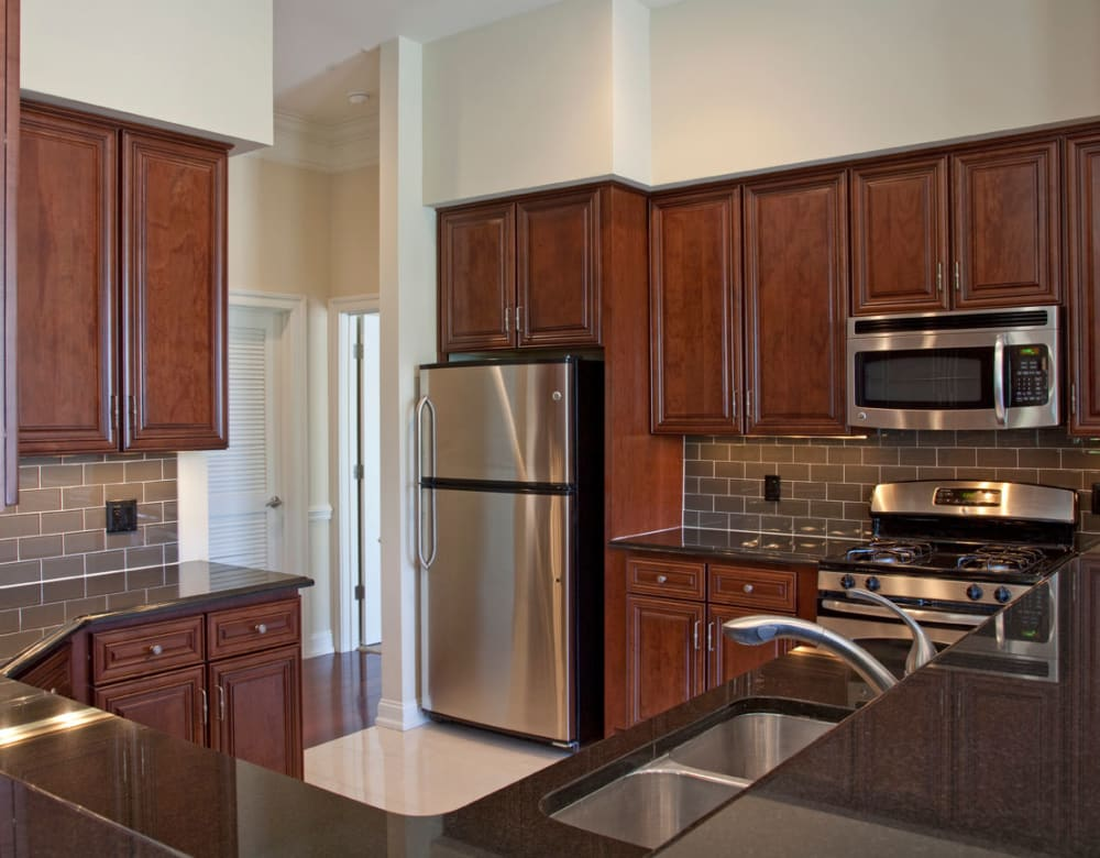 Modern, sleek kitchen at Presidential Place Apartments in Lebanon, New Jersey