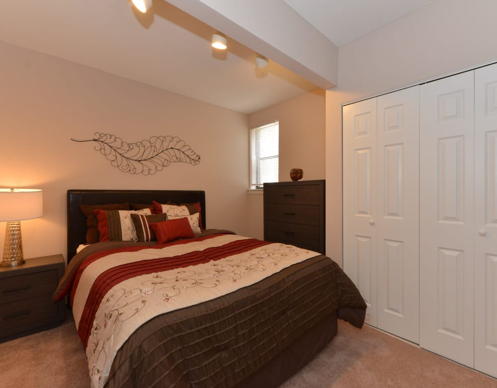 Bedroom with a walk-in closet at Clemens Place in Hartford, Connecticut