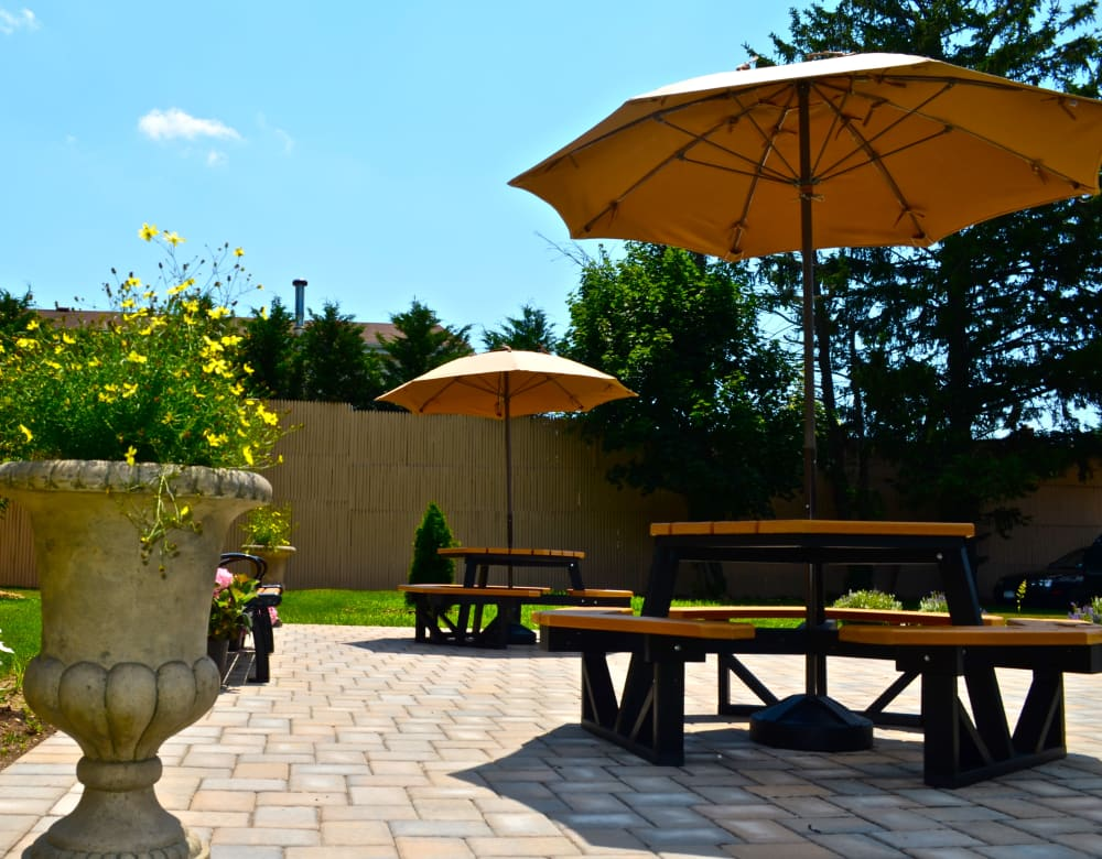 Outdoor patio area at Seaford Gardens in Seaford, New York
